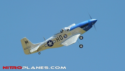 "AirField 800mm (31.5"") Electric P51 Mustang RC Warbird Plane w/ 2.4Ghz Brushless/Lipo RTF (Blue)"