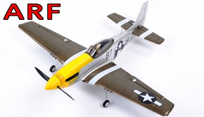 "AirField 800mm (31.5"") Electric P51 Mustang RC Warbird Plane w/ Brushless+ESC ARF Receiver-Ready (Yellow) RC Remote Control Radio"