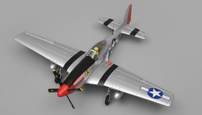 Airfield P51 RC 4 Channel Warbird Ready to Fly 2.4Ghz 800mm Wingspan (Silver) RC Remote Control Radio