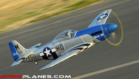 AirField RC 5-Ch P51 Mustang RC Warbird Plane Kit Airframe w/ Electric Retracts (Blue) RC Remote Control Radio 93A51-P51-Blue-KIT-eRetract