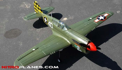 "AirField RC 800mm 4-Ch P40 (31.5"") Warbird RC Plane ARF w/ Brushless Motor+ESC+Rudder (V2 Green) RC Remote Control Radio"