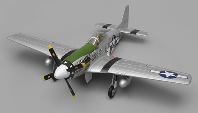 Airfield RC P51 Warbird Airplane 6 Channel Kit Version 1450mm Wingspan (Green) RC Remote Control Radio
