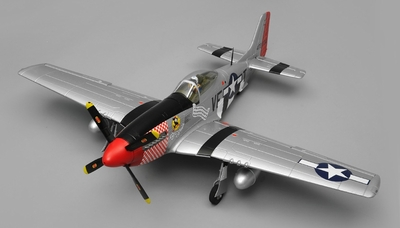 Airfield RC Plane  6 Channel P51 Mustang Warbird 1150mm Wingspan Almost Ready to Fly (Red)