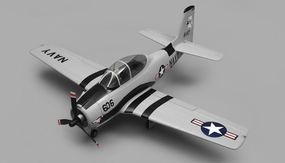 Airfield RC Plane  6 Channel T28 Trojan 1450MM 6 Channel Warbird Ready to Fly 2.4Ghz (Grey) RC Remote Control Radio