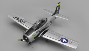 Airfield RC Plane  6 Channel T28 Trojan 1450MM 6 Channel Warbird Ready to Fly 2.4Ghz (Silver)