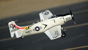 Airfield Skyraider A1 RC War Plane 4 Channel Warbird Almost Ready to Fly 800mm Wingspan (White)