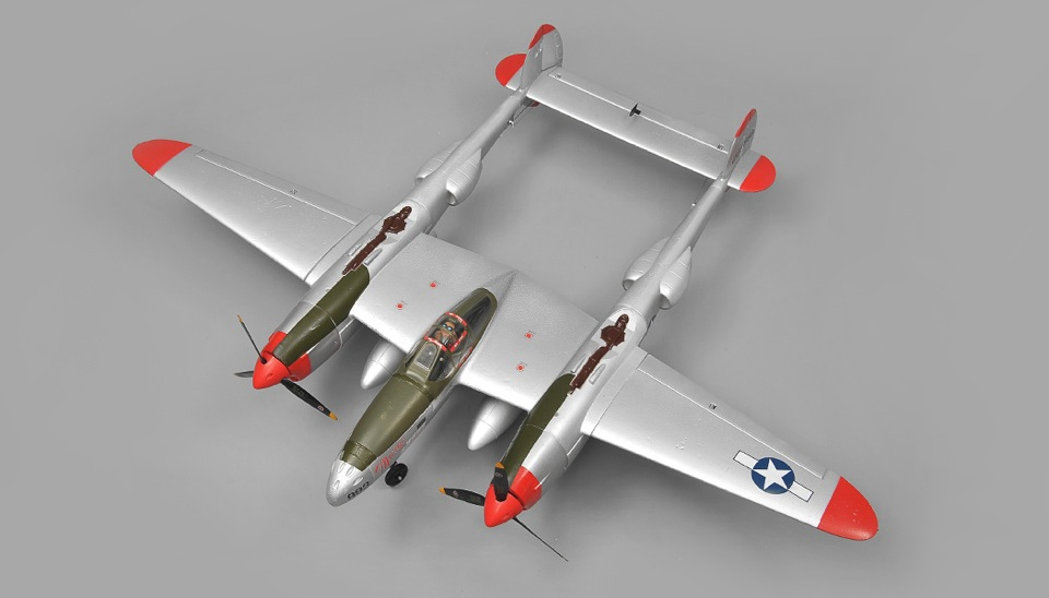Airwing P38 Lightning 6 Channel Rc Plane Warbird Epo Kit Silver Rc Remote Control Radio