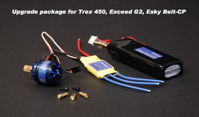 Alpha 400 Brushless Motors, Volcano 25A Brushless ESC, and Fusion Power LiPo 11.1V 1800mAh 15C 400/450 RC Helicopter Upgrade Kit