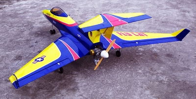 "Blue Flying Cat 90 - 60"" ARF R/C Pusher Jet - A Radio Remote Controlled Airplane"