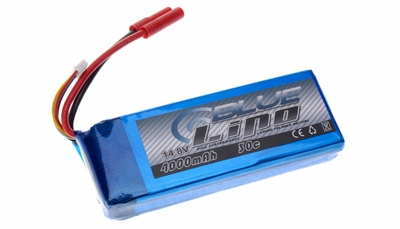 Blue Lipo 4-Cell 4000mAh 14.8v 4S1P 30C RC Battery