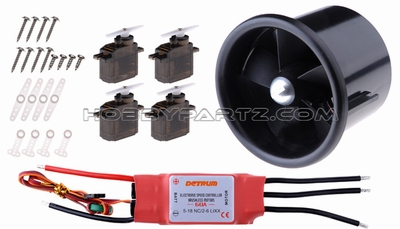 Detrum 70mm EDF power combo set (70mm EDF+60A ESC+4pcs 9g servos+KV3000 brushless motor) 60P-70MM-EDF-Combo
