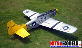 "Double Trouble P-51D Warbird Mustang 60 - 70"" Nitro Gas Radio Remote Control ARF Warbird Plane w/ Retractable Landing Gear 12A01_DoubleTrouble"