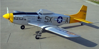 "Double Trouble Two P-51D Mustang 60 - 66"" Nitro Gas Radio Remote Controlled RC Warbird Plane ARF"