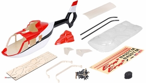 EC135 450� Pre-Painted Glass Fiber Fuselage for 450 Size Helicopters Red/Black/White