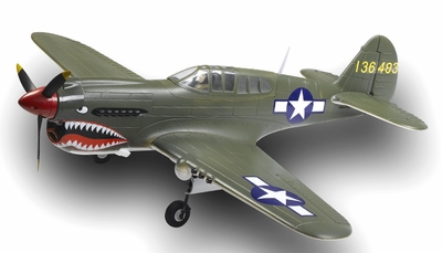 Extreme Detail 5-Channel AirField RC P-40 1400MM Radio Control Warbird Plane ARF Receiver-Ready w/ Brushless Motor/ESC *Super Scale* EPO Foam Plane + Electric Retracts (Green)