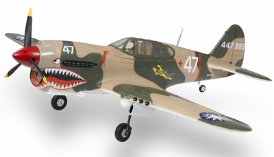 Extreme Detail 5-Channel AirField RC P-40 1400MM Radio Control Warbird Plane ARF Receiver-Ready w/ Brushless Motor/ESC *Super Scale* EPO Foam Plane + Electric Retracts (Tiger)