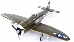 Extreme Detail 5-Channel AirField RC P-47 1400MM Radio Control Warbird Plane ARF Receiver-Ready w/ Brushless Motor/ESC *Super Scale* EPO Foam Plane + Electric Retracts (Green) RC Remote Control Radio