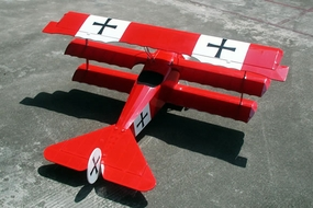 "Fokker DR-1 .90 Engine Size, 45"" Wing-Span, 4-Channel, Nitro Gas  led RC Tri-Wing Airplane RC Remote Control Radio"