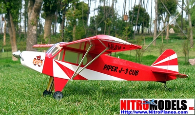 "Fuel/Electric Red J-3 Piper Cub 15-25 49.6""  led RC Airplane RC Remote Control Radio"