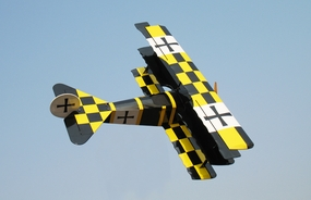 "Gas Fokker DR-1 - 45"" .90 Size Nitro Gas Engine Radio Remote Controlled RC Tri-Wing-Plane [Yellow/Black Version]"