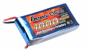 Gens Ace 1000mah 2S1P 7.4V 25C Lipo battery pack