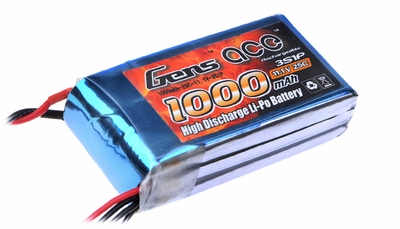 Gens ace 1000mah 3S1P 11.1V 25C Lipo battery pack