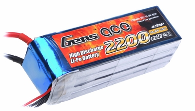 Gens ace 2200mah 4S1P 14.8V 25C Lipo battery pack