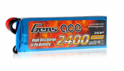 Gens ace 2400mah 2S1P 7.4V 25C  Lipo battery