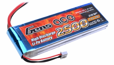Gens ace 2500mah 2S1P 7.4V 25C Lipo battery pack