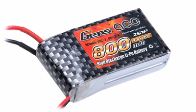 Gens ace 800mah 2S1P 7.4V 20C Lipo battery pack