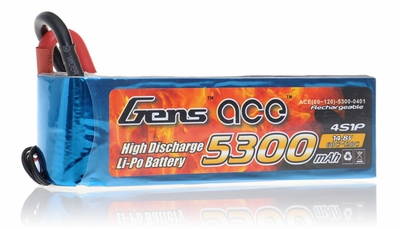 Gens ace LIPO Battery   5300mAh 60-120C 14.8V