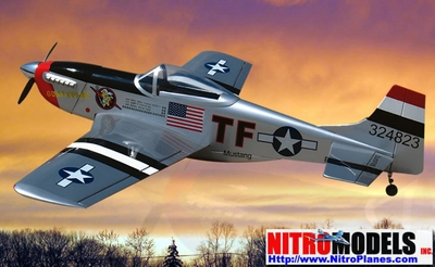 "Kimberly Kaye P-51D Mustang 40 - 58"" Almost-Ready-To-Fly Nitro Gas   R/C Airplane w/ Retracts RC Remote Control Radio"