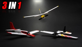New 3 Channel Stunt Flying RC Airplane RTF 3 Planes in 1 Combo + 2.4 GHz Transmitter