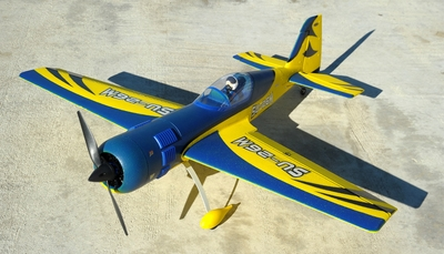 "New 4 Channel Dynam SU-26M Brushless Sports RC Plane 47"" ARF w/ Motor + ESC + Servos (Blue)"