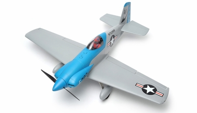"New 5 Channel AeroSky Midget Mustang 55"" Scale Remote Control Plane Kit (Blue)"