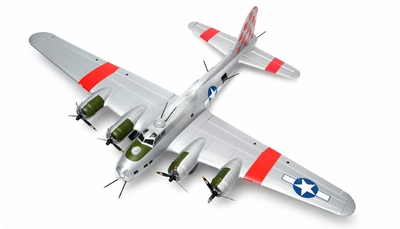 "NEW 7 Channel AirWingRC B-17 Bomber 63"" Scale Electric RC Warbird Kit (Silver Red) RC Remote Control Radio"