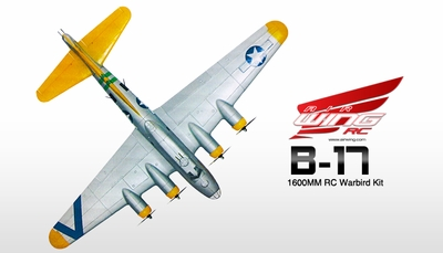 "NEW 7 Channel AirWingRC B-17 Bomber 63"" Scale Electric RC Warbird Kit (Silver Yellow) RC Remote Control Radio"
