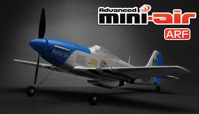 New Advanced Mini-Air 4 Channel Scale P51 Mustang RC Warbird ARF Version w/ Lipo Battery RC Remote Control Radio