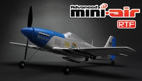 New Advanced Mini-Air 4 Channel Scale P51 Mustang RC Warbird RTF + 2.4 GHz Transmitter RC Remote Control Radio 11A051-P51-RTF-24G