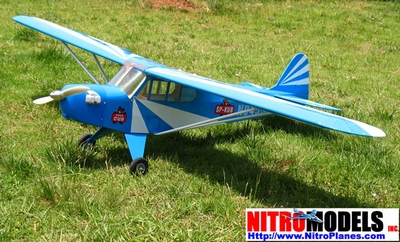 "New English Blue J-3 Piper Cub 60 - 71"" Nitro Gas Radio Remote Control Airplane Almost-Ready-to-Fly ARF"