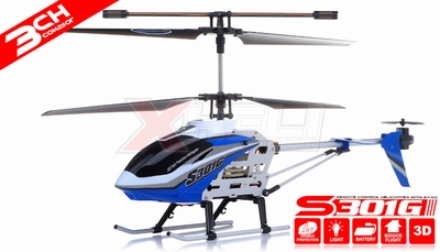 "New Syma S301G RC helicopter 18"" 3 Channel RTF + 27 mhz Transmitter with GYRO (Blue)"
