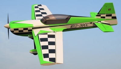 Nitro Model 4 Channel MX2 3D Aerobatic 30CC Gas Plane Kit 1860mm Wingspan (Green) RC Remote Control Radio