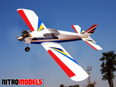 "NitroModel Low-Wing Super Aerobatic Trainer 60 - 71"" Nitro Gas  led Airplane RC Remote Control Radio"