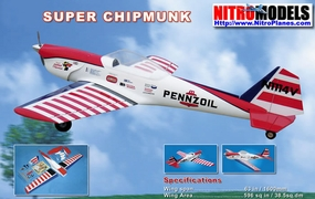 "NitroModels Fiberglass Super Chipmunk 52 - 63"" Scale Nitro Gas Radio Remote Control Airplane"