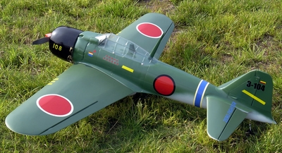 "NitroModels Zero Fighter 52 - 54"" Scale Nitro Gas Radio Remote Control Warbird Airplane"