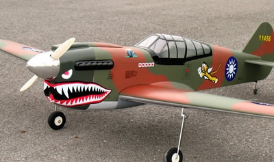 "P-40E 60 - 63"" Tiger Shark Nitro Gas Radio Remote Controlled RC Warbird Plane ARF"
