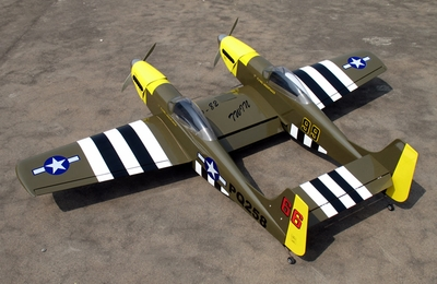 "P-82 Twin Mustang 40 - 70.5"" Nitro Gas  led RC War Bird Airplane ARF Kit <font color=blue>Includes Retractable Landing Gears</font> RC Remote Control Radio"