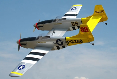 "P-82 Twin Mustang 40 - 70.5"" Nitro Gas  led RC Warbird Plane Almost-Ready-to-Fly <font color=blue>w/ Set of Retracts</font> RC Remote Control Radio"
