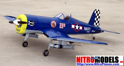 "Royal Navy's NitroModels F4U Corsair 50 - 55"" Nitro Gas Powered Radio Remote Control R/C War Plane"