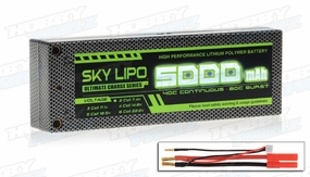 SKY LIPO 5000mAh 40C 7.4V Hardcase Lipo Battery Pack ROAR Racing Approved
